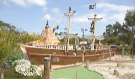 Set sail into Pirate Pete's Mini-Golf Adventure and escape into another world as you encounter several life-size pirate figures.